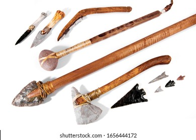 Stone Age Tools on white Background - Panoramic View
