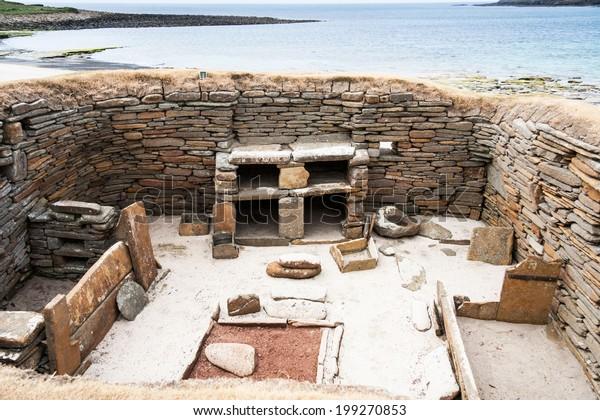 stone age village Skara Brae on Orkney, Scotland, UK