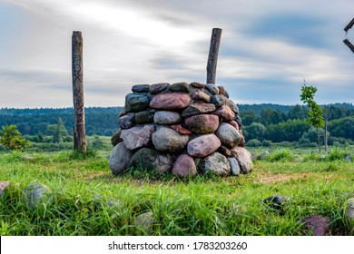 stone altar in nature on bright sunny day.