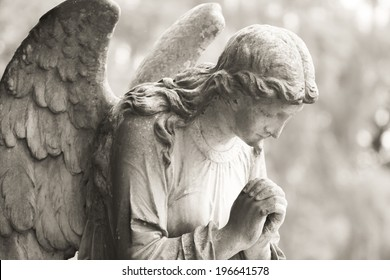 Stone angel in black and white