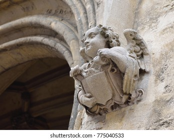 Stone angel on the wall