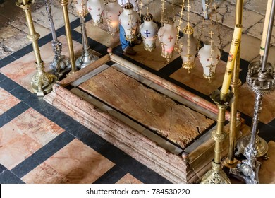 The Stone of Anointing, where Jesus' body is said to have been anointed before burial in the Church of the Holy Sepulchre in Jerusalem