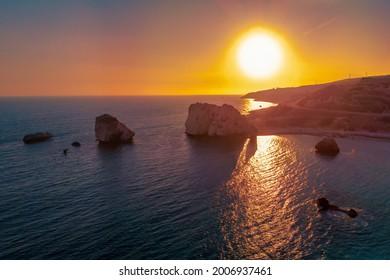 Stone of Aphrodite at sunset. Petra tou Romiou, southern coast of Cyprus, Paphos.