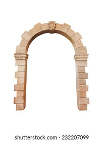 stone arch architecture isolated on white background, cliping path.