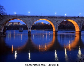 Stone Arch bridge in downtown Minneapolis at night