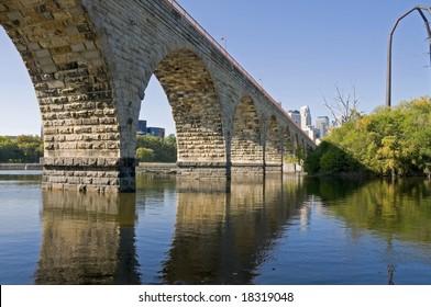 Stone Arch Bridge in Minneapolis Minnesota is a historic bridge spanning the Mississippi River.