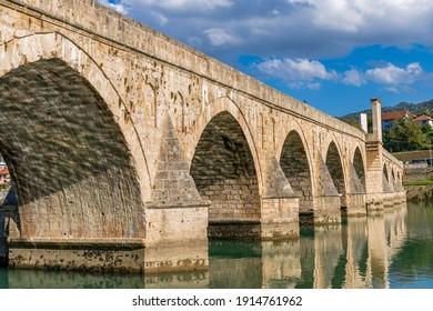 Stone arch bridge on the Drina river in Višegrad