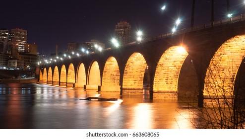 Stone Arch Bridge St Paul Minnesota Mississippi River Night