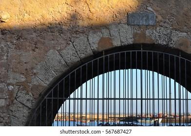 Stone arch door.