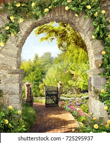 Stone arch with flowers . Modern mural . Terrace