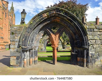 Stone arch in historic Center of Carlisle. Carlisle is a city and the county town of Cumbria, England, UK