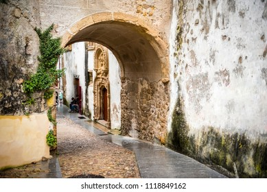 Stone arch on the narrow street of Coimbra town in Portugal in the evening