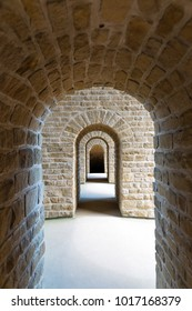 Stone arches in Luxembourg castle in Luxembourg City