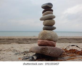 Stone balance on the beach of the Baltic Sea