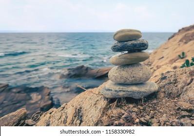Stone balancing close-up