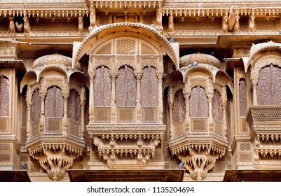 Stone balcony and carved windows of ancient stone fortress, Jodhpur of Rajasthani, India