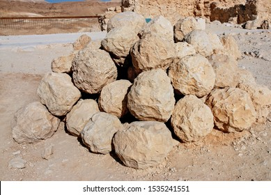 Stone balls launched from Roman catapult in Masada, is an ancient fortification at Judean Desert built by Herode The Great, where happened the mass suicide of the 960 Sicarii rebels. Israel, 09, 2008.