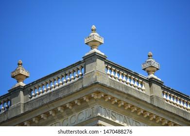 Stone balustrade on summer day