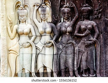 Stone bas relief of Shakti in the complex of Angkor Wat, Siem Reap, Cambodia