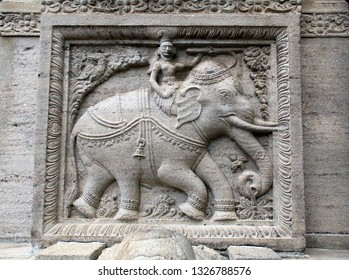 Stone bas-relief with elephant on wall of Sri Dalada Maligawa (Temple of tooth relic, Temple of Buddha tooth), Kandy, Sri Lanka. UNESCO world heritage site
