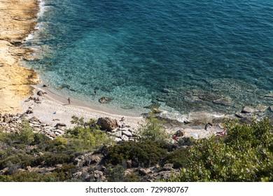 stone beach on sea at summer