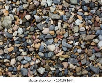 Stone beach at a small lake