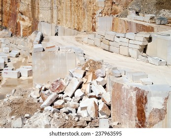 stone blocks and steps after extracting in quarry