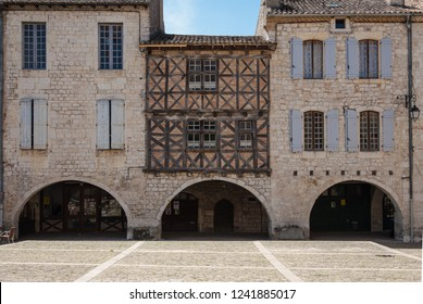 Stone and brick houses with wooden trusses of the medieval village of Lauzerte. France