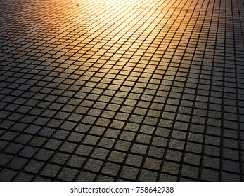 Stone brick walk way with sunlight. Abstruct concept