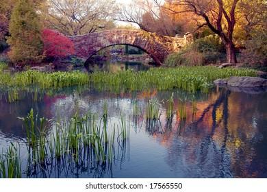 A stone bridge in Central Park, NY.