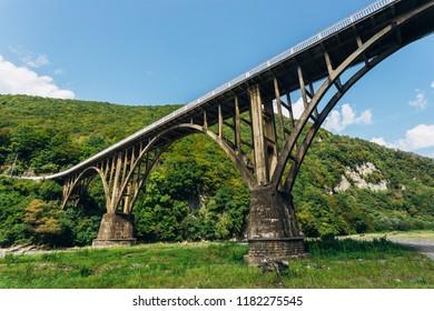 Stone bridge over gorge of river Gumista, Abkhazia.