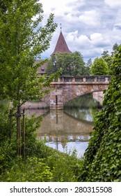 Stone bridge over the Pegnitz in Nuremberg