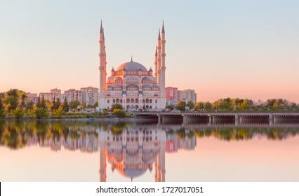 The Stone Bridge and Sabanci Mosque at sunset - Adana, Turkey