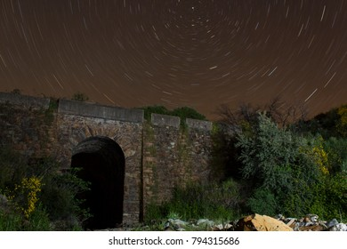 stone bridge with starry sky