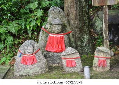 Stone Buddha Carvings in the area of Kiyomizu Dara Temple the landmark of Kyoto, Japan.