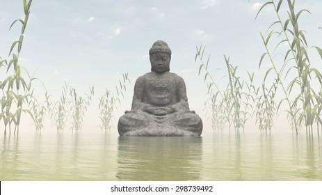 Stone buddha meditating next to bamboos by morning light - 3D render