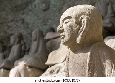 Stone Buddha of Nihon Temple of Nokogiri-mountain, Chiba prefecture, Japan