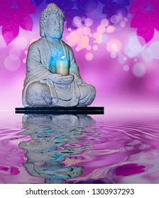 stone buddha reflected in the water