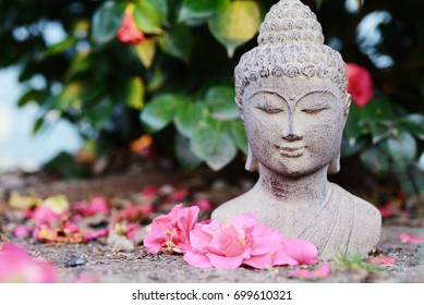 Stone Buddha Statue with flower petals