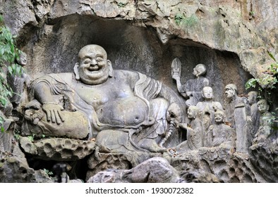 Stone Buddha statue of Lingyin temple in Hangzhou city, China