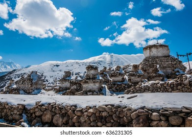 Stone Buddhist stupa on a sunny day, Ladakh - Little Tibet - India.