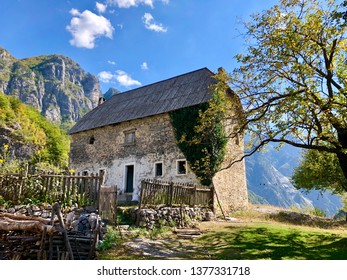 A stone building in the village of Theth in Prokletije in the Acursed Mountains of Albania. The community is at the center of the Theth National Park, an area of outstanding natural beauty.