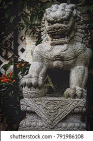 Stone Bust of Imperial Chinese Guard Lion (Foo Dog). Portrait Orientation.