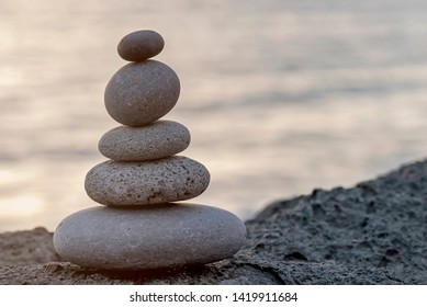 Stone Cairn At The Beach