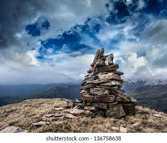 Stone cairn in Himalayas mountains