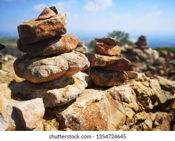 stone cairns on a hiking trail on the top of the Magaliesberg mountains. They signify comraderie and let you know that you are on the right track. these mountains are 250 million years old.