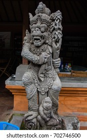 stone carved Balinese statuettes depicting deitys and gods at Pura Tirta Empul