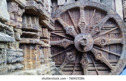 stone carved wheel at Konark Sun temple of Odisha
