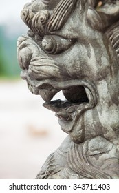 Stone carving chinese lion near buddha temple