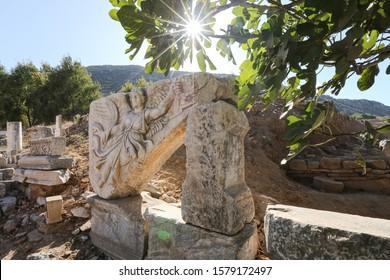 Stone carving of the goddess Nike in Ephesus Ancient City, Izmir City, Turkey